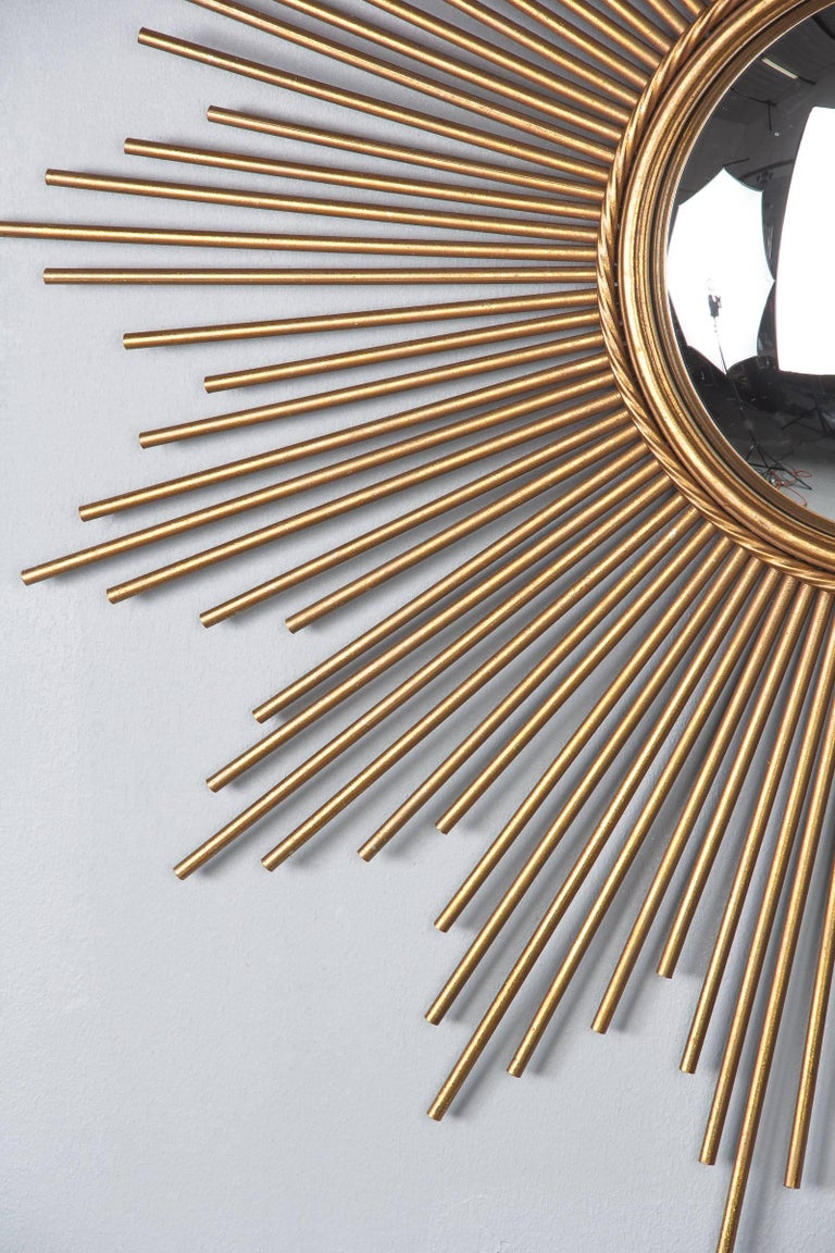 French Midcentury Gilded Metal Sunburst Mirror In Good Condition For Sale In Austin, TX