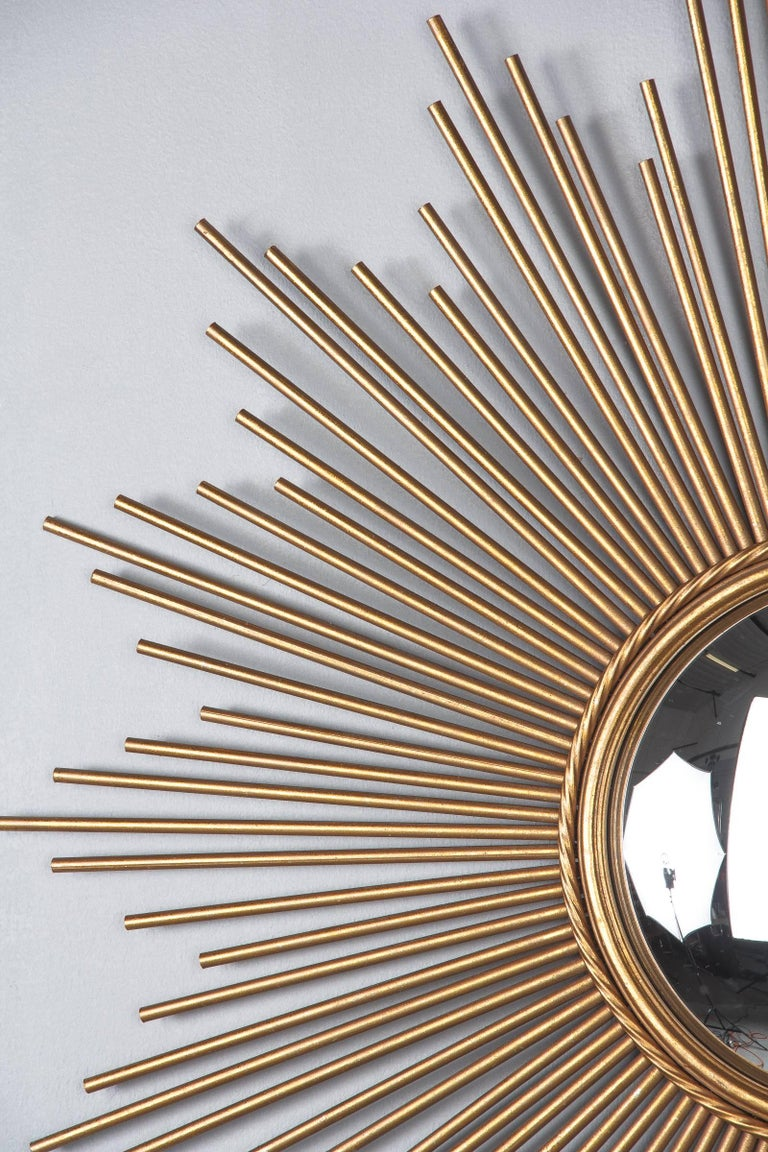 Mid-20th Century French Midcentury Gilded Metal Sunburst Mirror For Sale