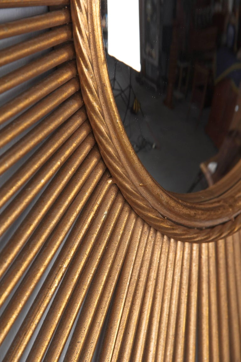 French Midcentury Gilded Metal Sunburst Mirror For Sale 2