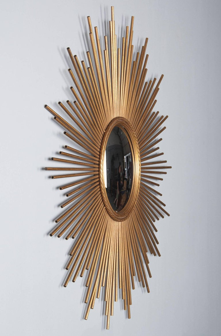 French Midcentury Gilded Metal Sunburst Mirror For Sale 3