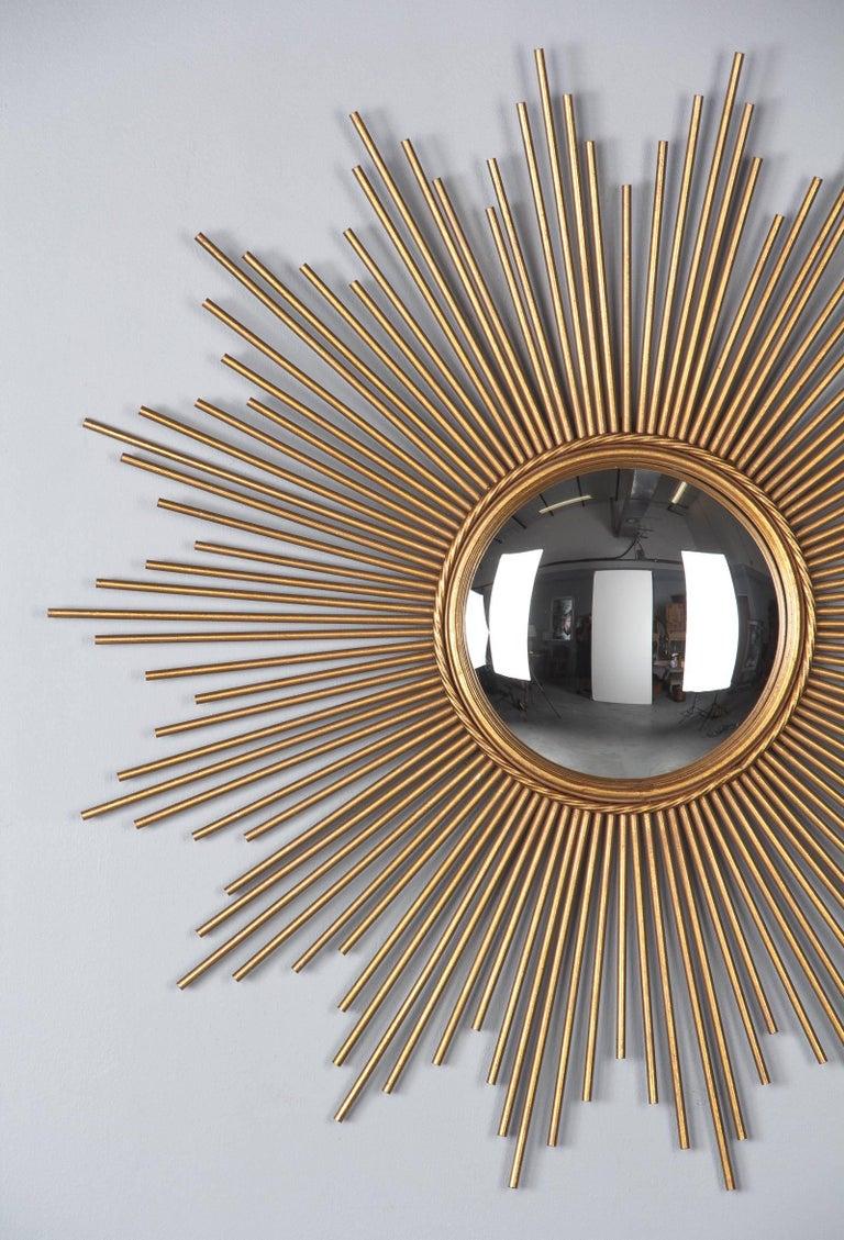 French Midcentury Gilded Metal Sunburst Mirror For Sale 6