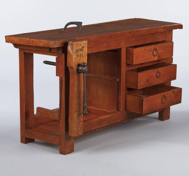 Industrial French Carpenter's Workbench in Elm, 1950s For Sale