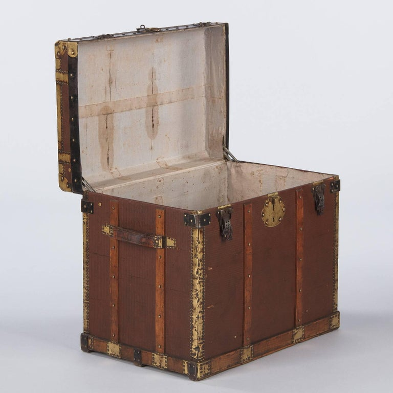 Brass French Traveling Trunk, Early 1900s For Sale