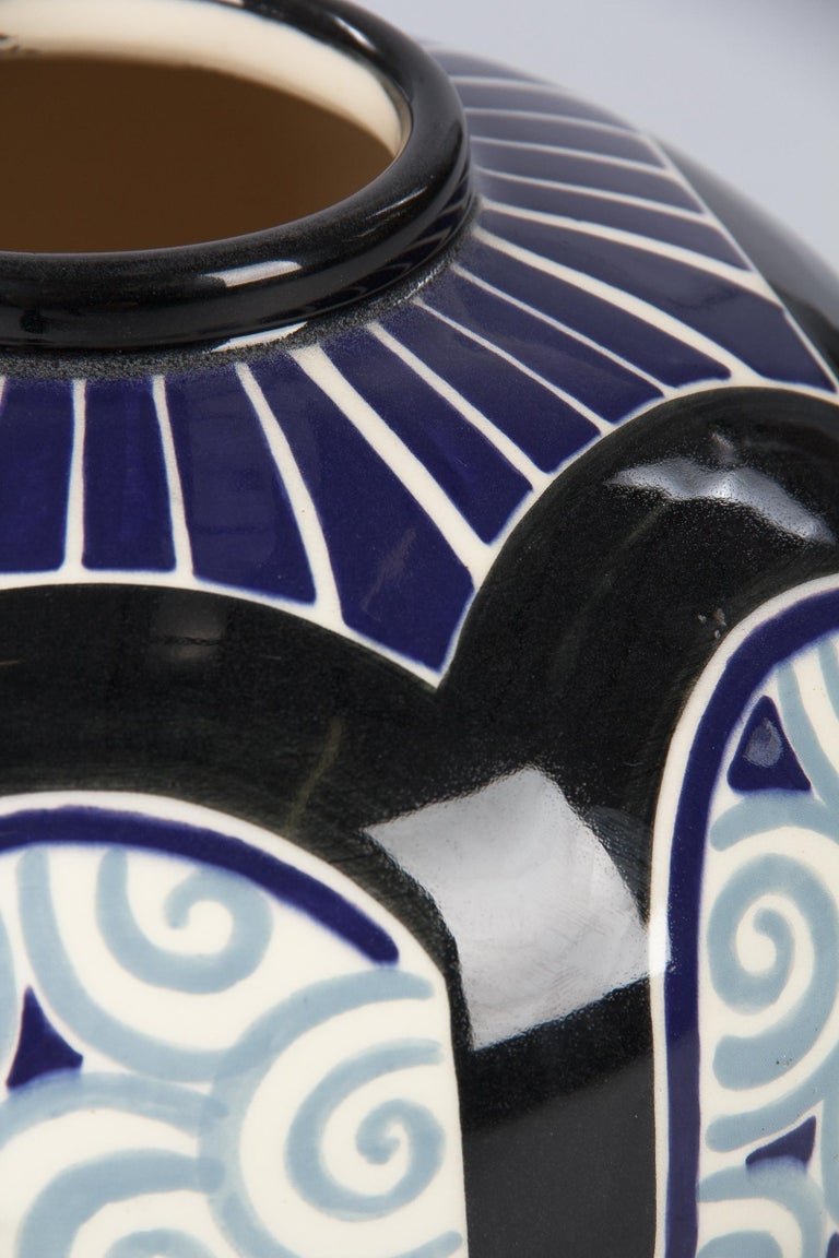 Mid-20th Century French Art Deco Glazed Ceramic Vase, 1930s For Sale