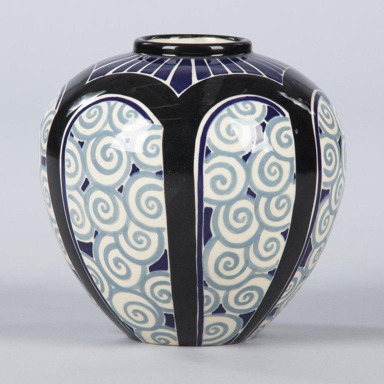 French Art Deco Glazed Ceramic Vase, 1930s For Sale 1