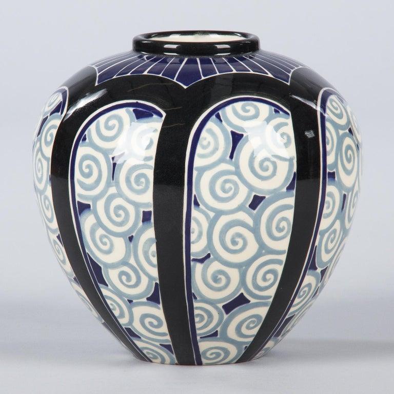French Art Deco Glazed Ceramic Vase, 1930s For Sale 3