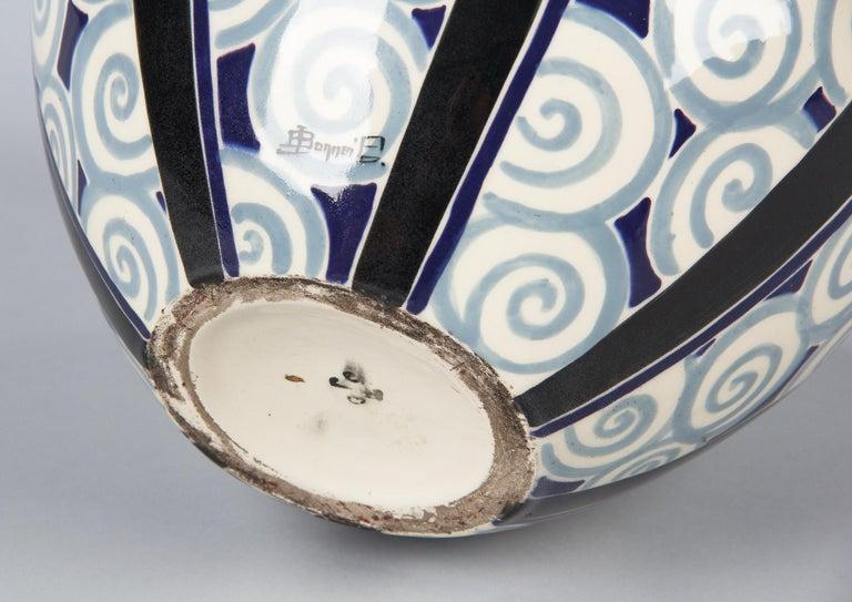 French Art Deco Glazed Ceramic Vase, 1930s For Sale 5