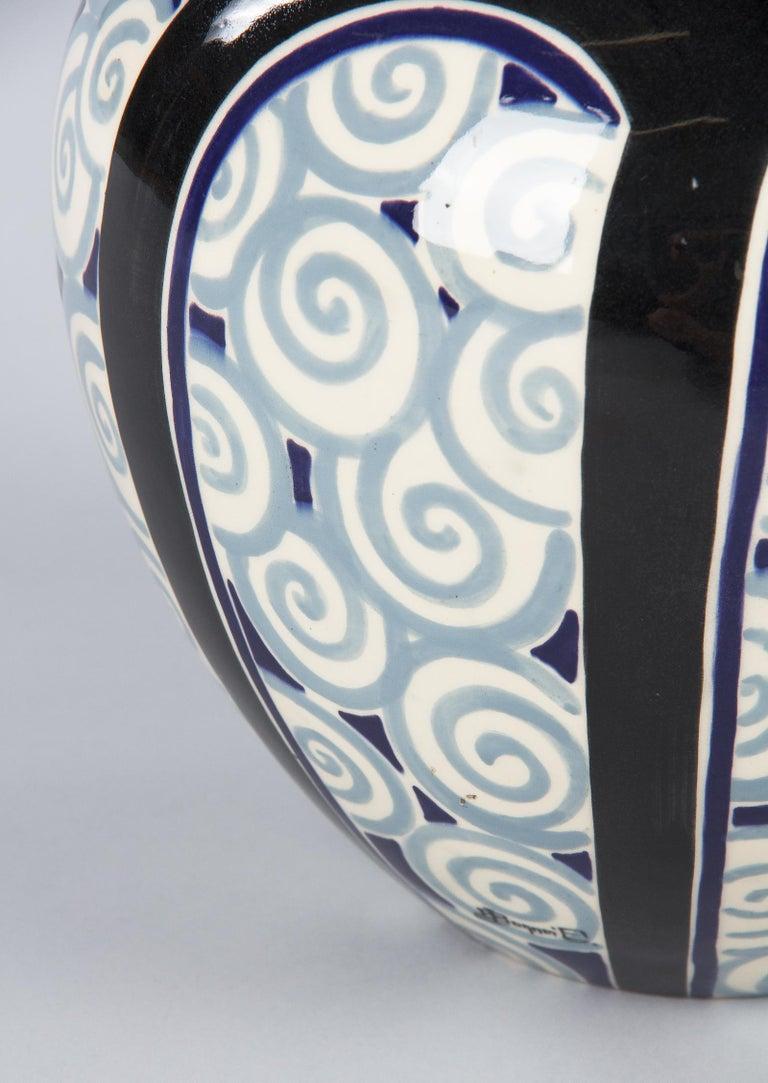 French Art Deco Glazed Ceramic Vase, 1930s For Sale 8