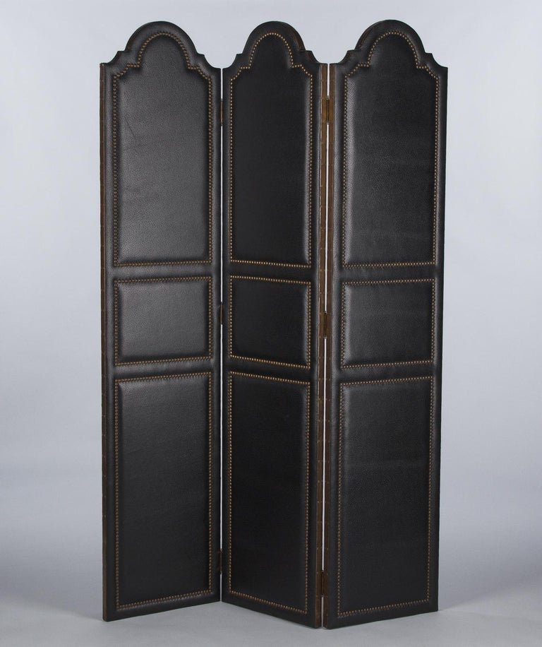 Mid-Century Modern French Leather and Brass Screen by Pierre Gautier, 1950s For Sale