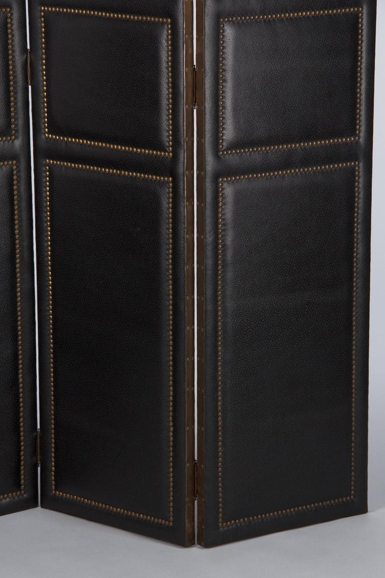 20th Century French Leather and Brass Screen by Pierre Gautier, 1950s For Sale