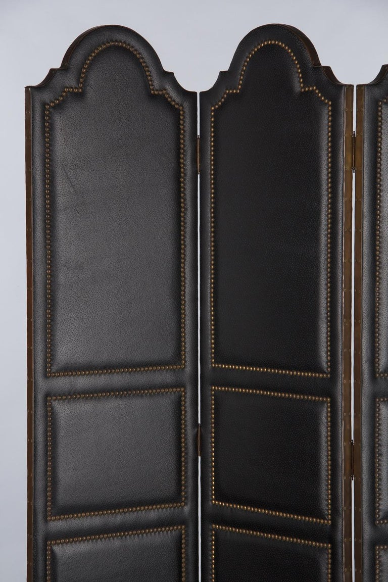 French Leather and Brass Screen by Pierre Gautier, 1950s For Sale 1