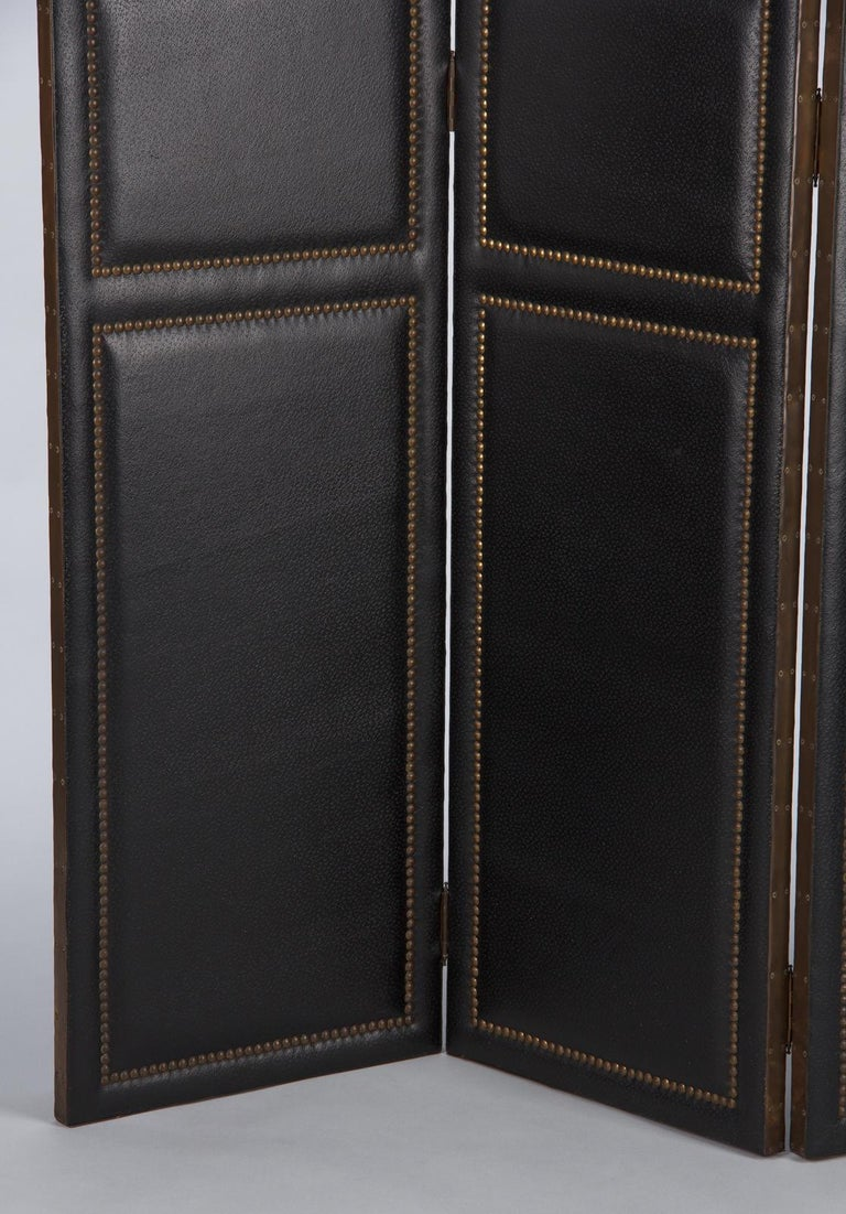French Leather and Brass Screen by Pierre Gautier, 1950s For Sale 2
