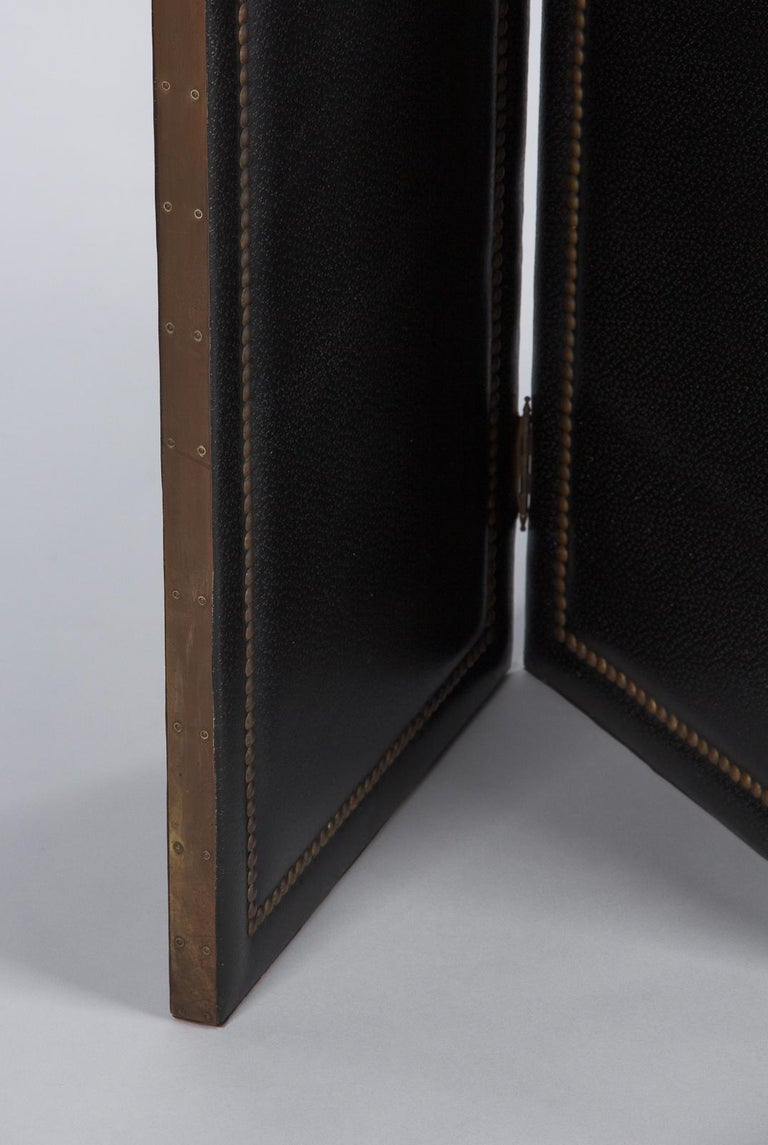 French Leather and Brass Screen by Pierre Gautier, 1950s For Sale 5