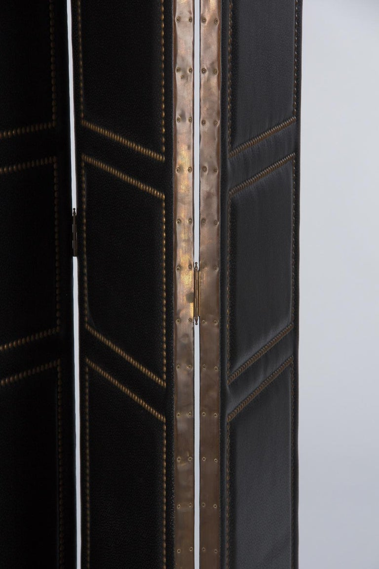 French Leather and Brass Screen by Pierre Gautier, 1950s For Sale 8