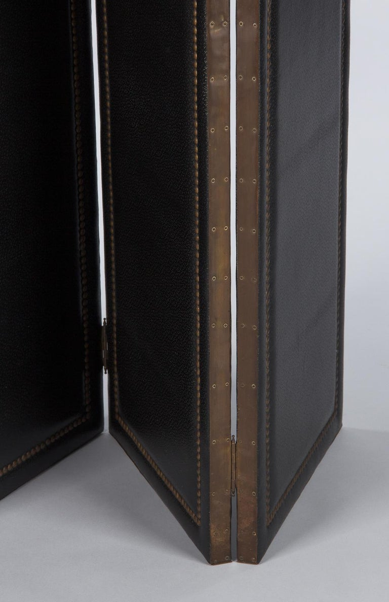 French Leather and Brass Screen by Pierre Gautier, 1950s For Sale 9