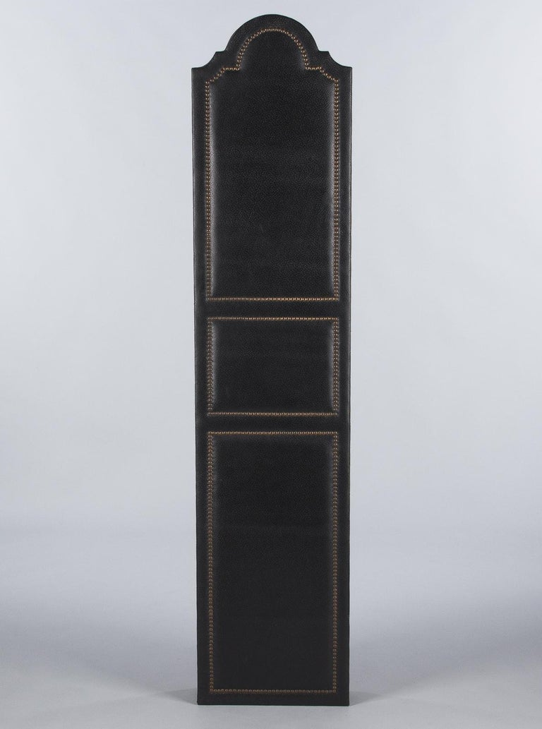 French Leather and Brass Screen by Pierre Gautier, 1950s For Sale 11