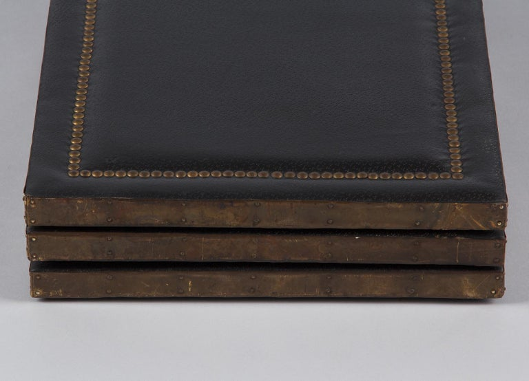 French Leather and Brass Screen by Pierre Gautier, 1950s For Sale 15
