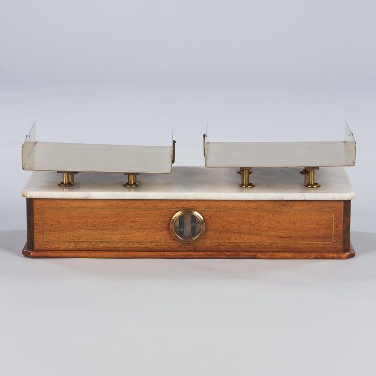 Brass French Fabric Store Scale in Walnut with Marble Top, 1900s For Sale