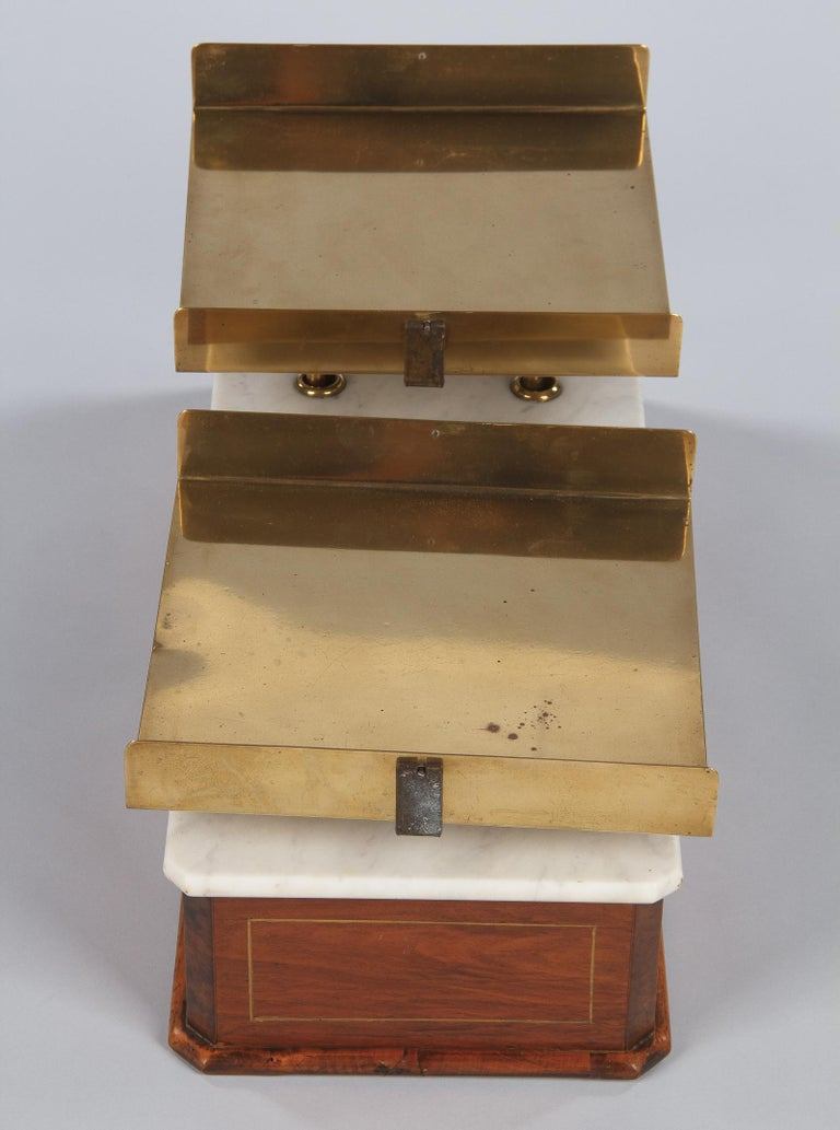 French Fabric Store Scale in Walnut with Marble Top, 1900s For Sale 4