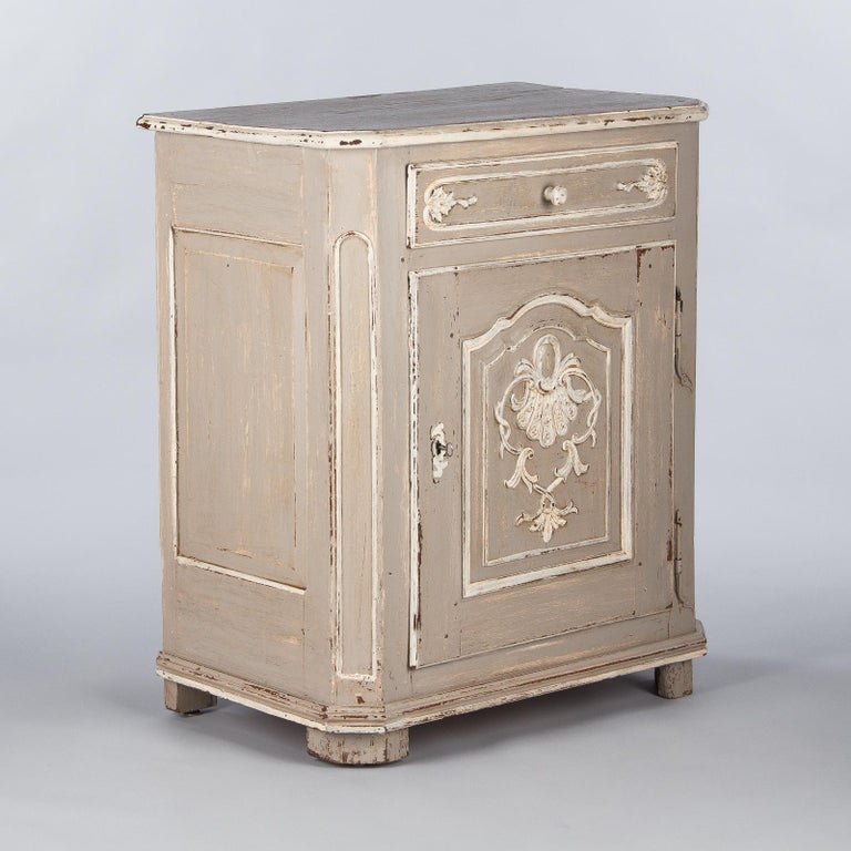 French Louis XIV Painted Oak Confiturier Cabinet, 18th Century For Sale 11