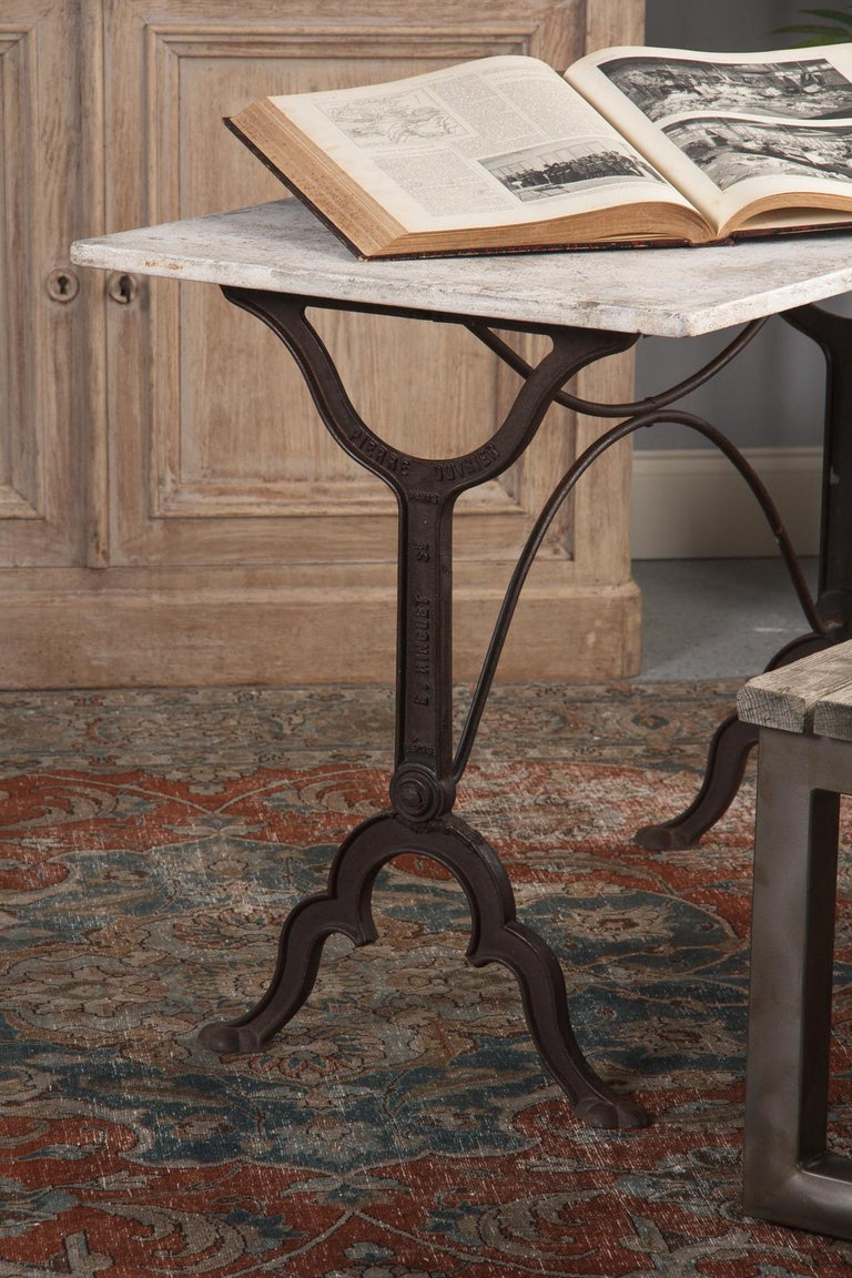 Early 1900s French Bistro Table with Marble Top Signed E.Ringuet For Sale 3