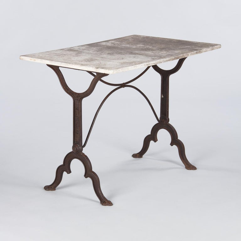 Early 1900s French Bistro Table with Marble Top Signed E.Ringuet For Sale 4