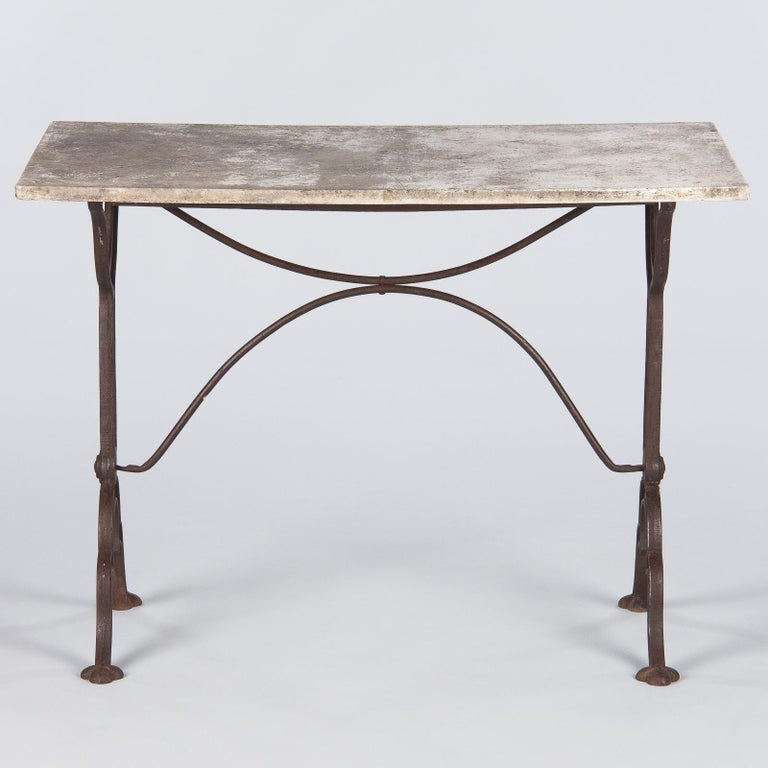 Early 1900s French Bistro Table with Marble Top Signed E.Ringuet For Sale 9