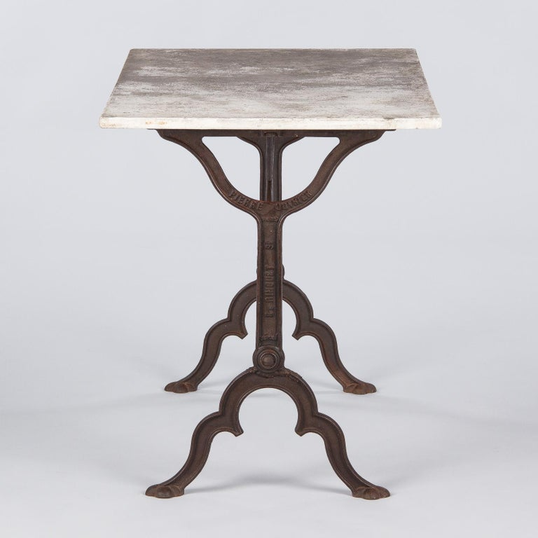 Early 1900s French Bistro Table with Marble Top Signed E.Ringuet For Sale 10