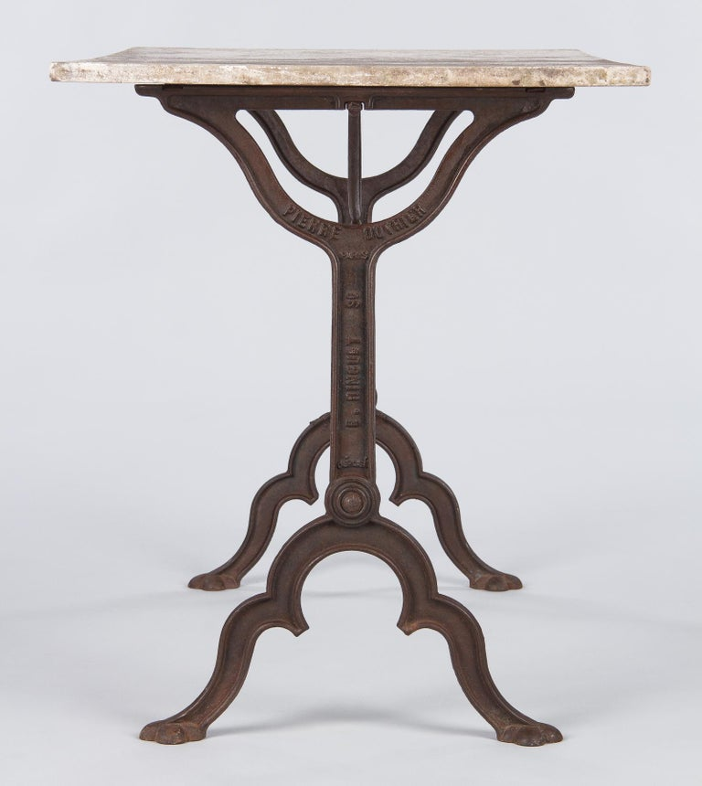 Early 1900s French Bistro Table with Marble Top Signed E.Ringuet For Sale 12