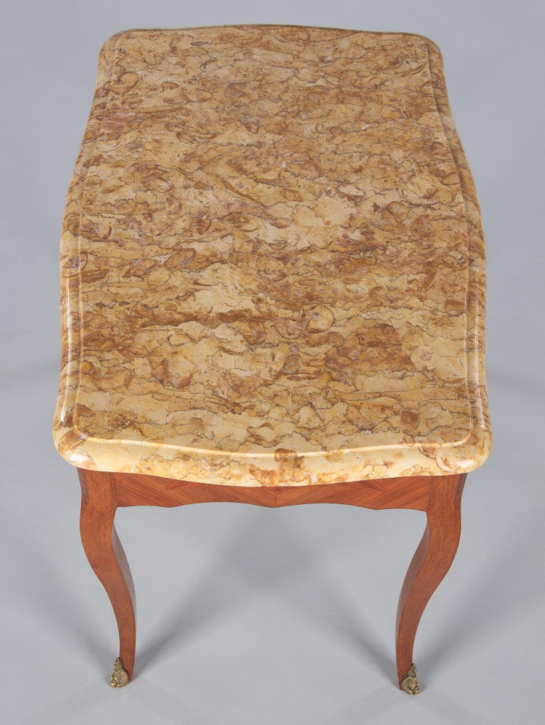 French Louis XV Style Marble Top Side Table, 1940s For Sale 3