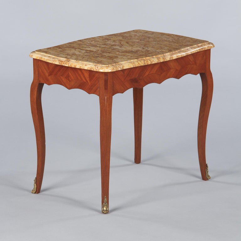 French Louis XV Style Marble Top Side Table, 1940s For Sale 7