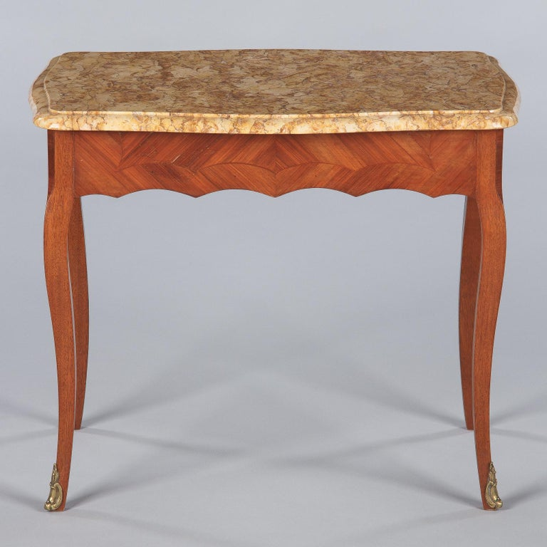 French Louis XV Style Marble Top Side Table, 1940s For Sale 10
