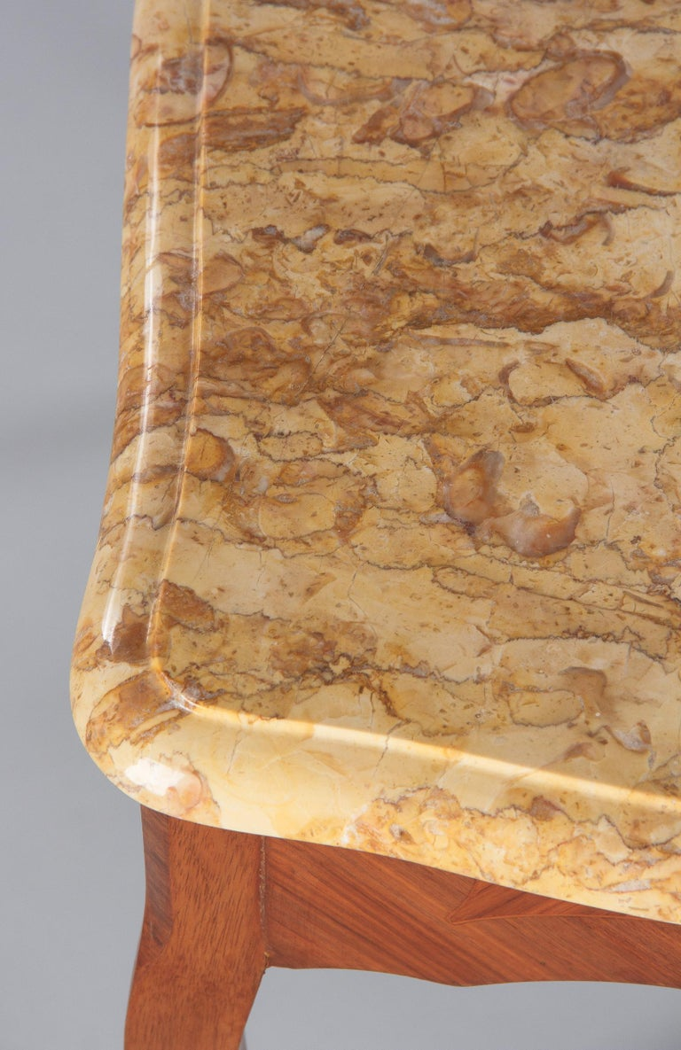 French Louis XV Style Marble Top Side Table, 1940s For Sale 11