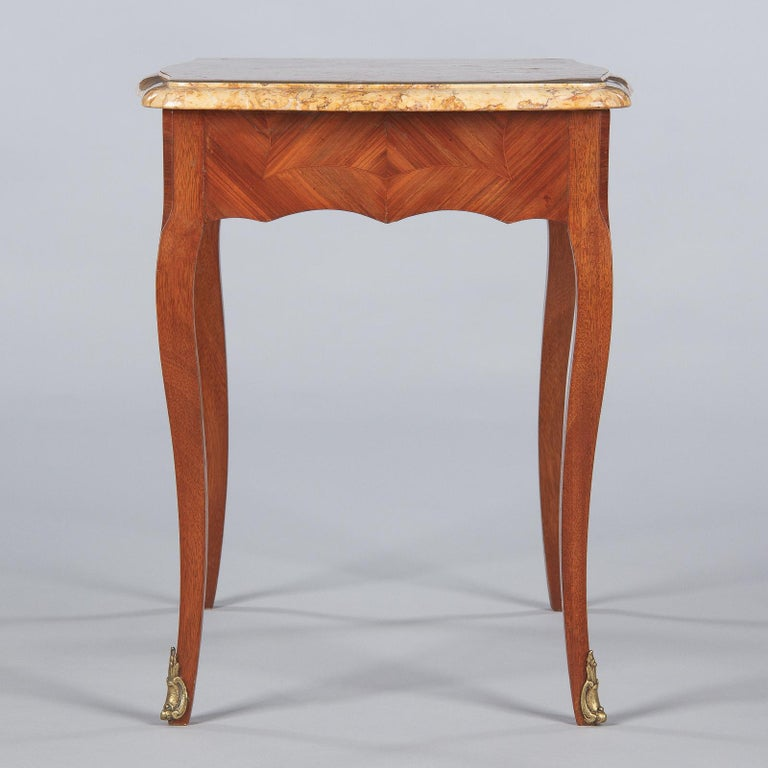 French Louis XV Style Marble Top Side Table, 1940s For Sale 12