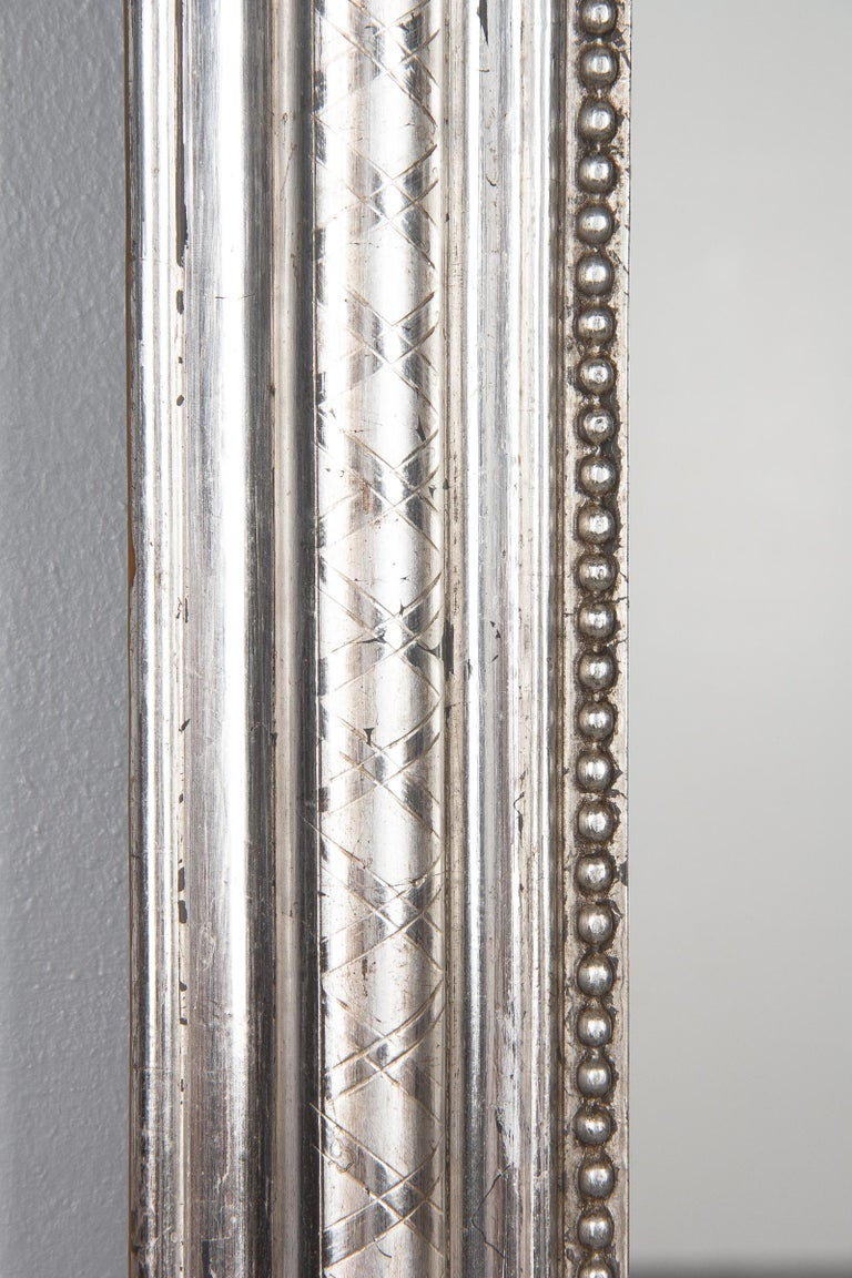 French Louis Philippe Silver Leaf Mirror, Mid-1800s For Sale 4
