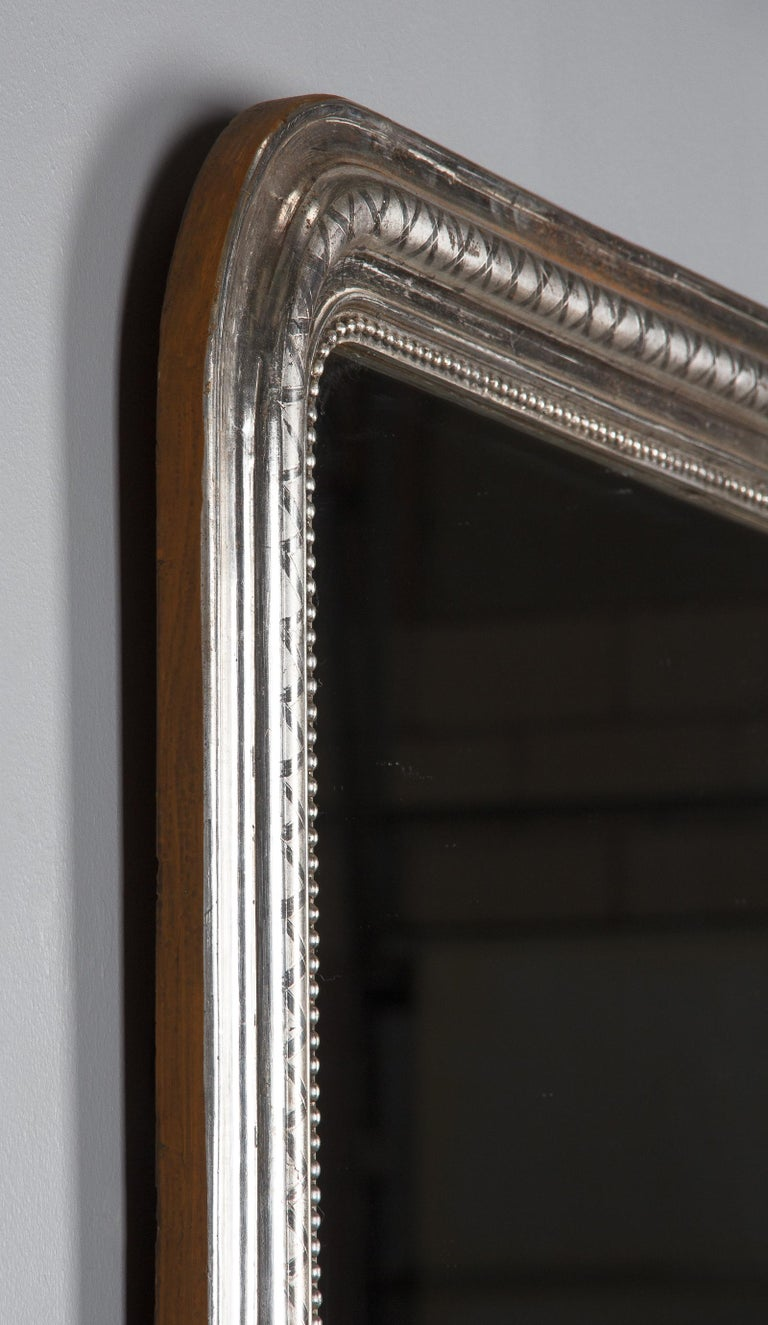 French Louis Philippe Silver Leaf Mirror, Mid-1800s For Sale 7