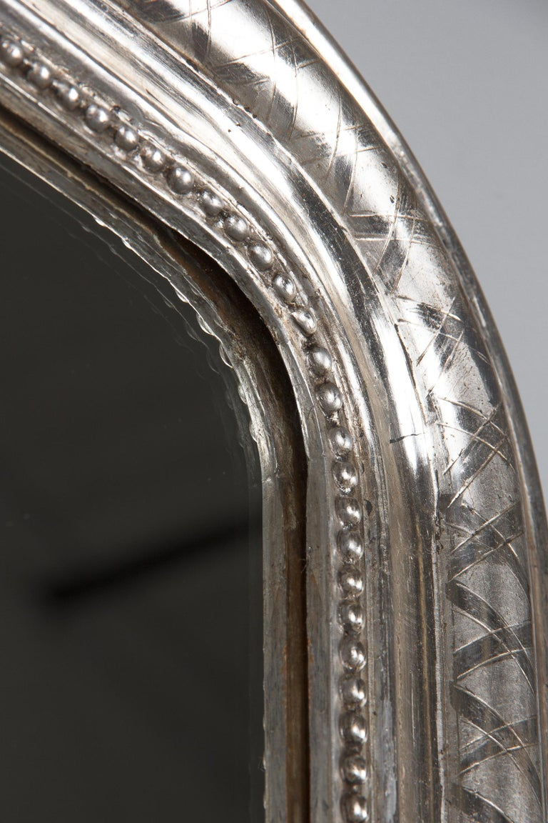 French Louis Philippe Silver Leaf Mirror, Mid-1800s For Sale 9