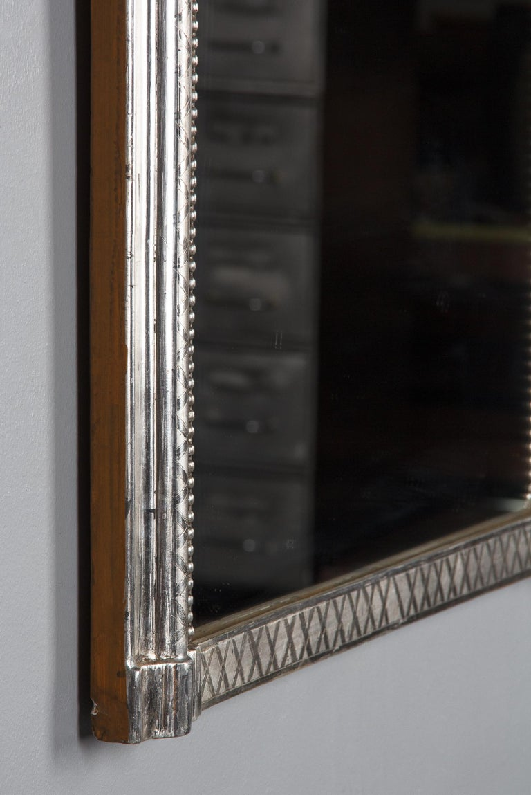 French Louis Philippe Silver Leaf Mirror, Mid-1800s For Sale 12
