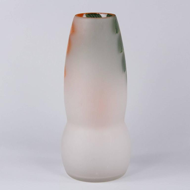 French Frosted Glass Vase 1900s For Sale At 1stdibs