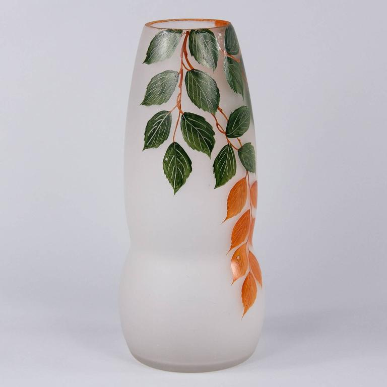 French Frosted Glass Vase, 1900s 8