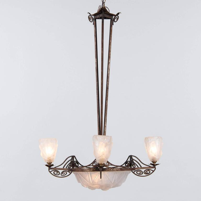 French art deco chandelier signed degue 1930s art for sale at 1stdibs a striking french art deco chandelier in iron and frosted cut glass signed by degue aloadofball Choice Image