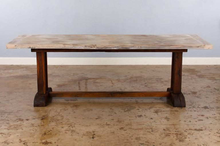 French Country Oak Trestle Table, 19th Century For Sale At