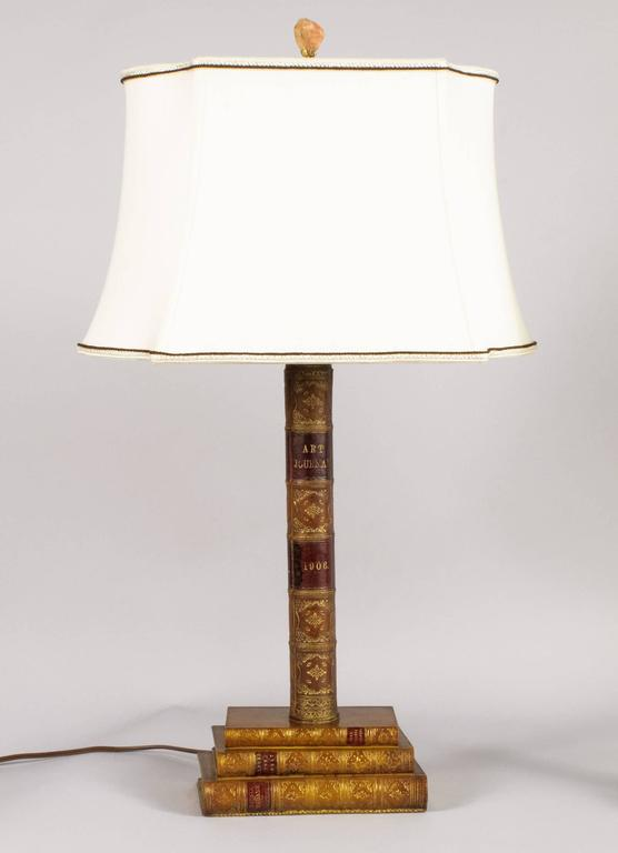 Pair of Leather Book Table Lamps from England, 1950s 4
