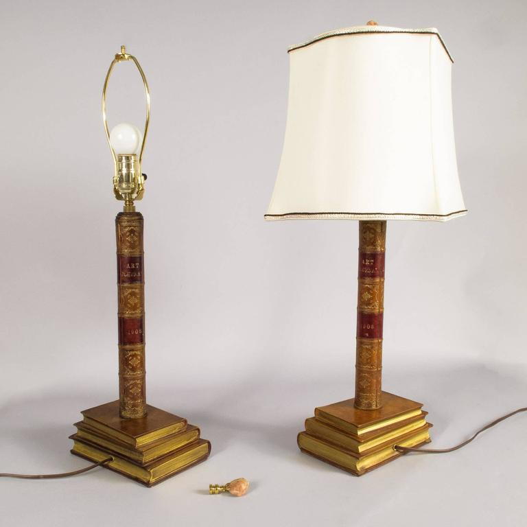 Pair of Leather Book Table Lamps from England, 1950s For Sale 4