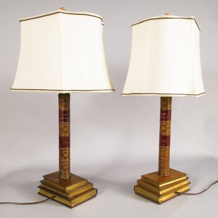 Mid-20th Century Pair of Leather Book Table Lamps from England, 1950s For Sale
