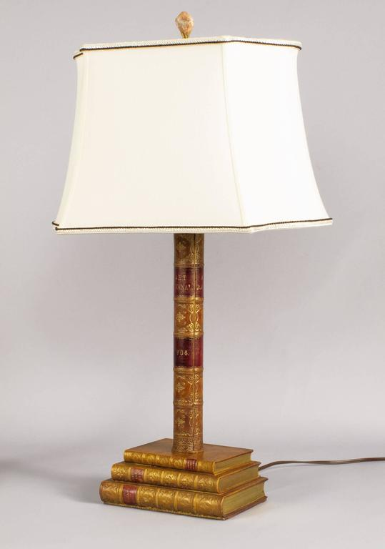 English Pair of Leather Book Table Lamps from England, 1950s For Sale