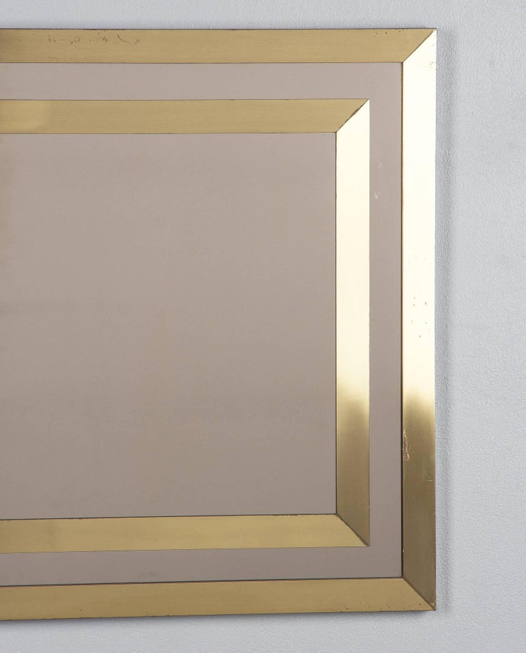 Late 20th Century Brass Framed Mirror with Smoked Glass, France, 1970s For Sale