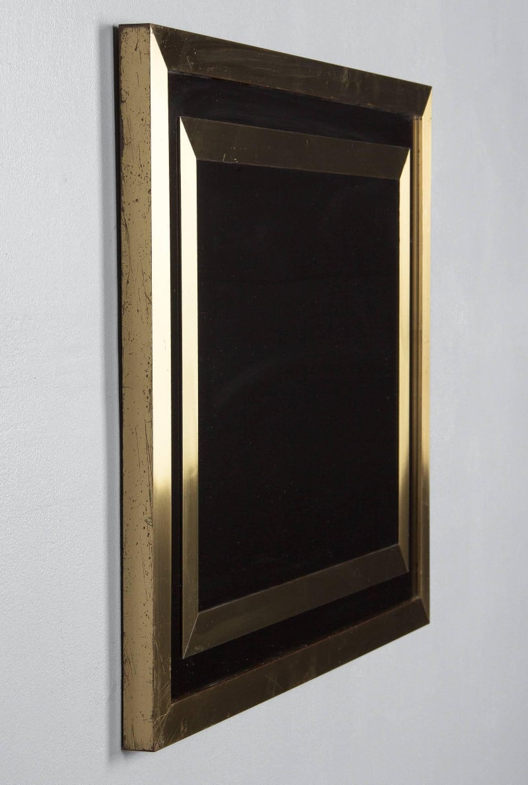 Brass Framed Mirror with Smoked Glass, France, 1970s For Sale 3