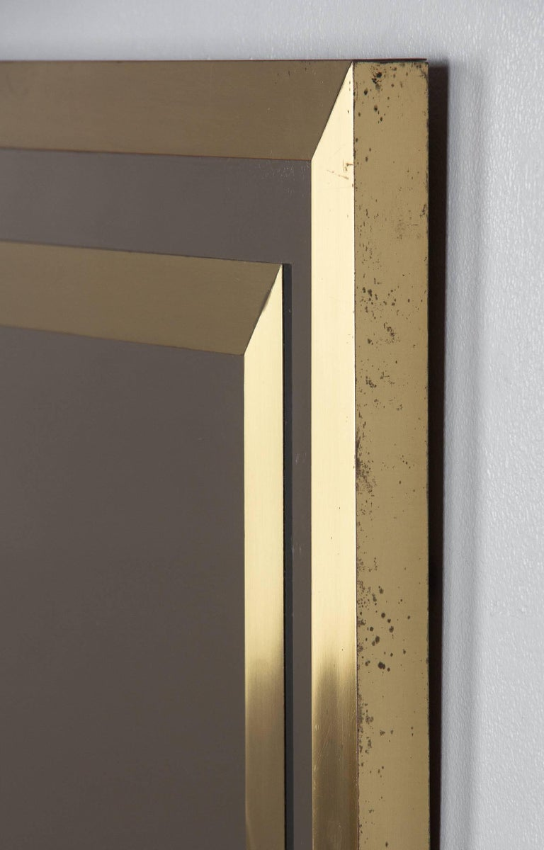 Brass Framed Mirror with Smoked Glass, France, 1970s For Sale 1