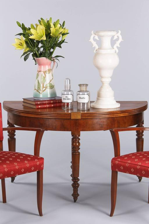 French Louis Philippe Demilune Walnut Table 1830s 2